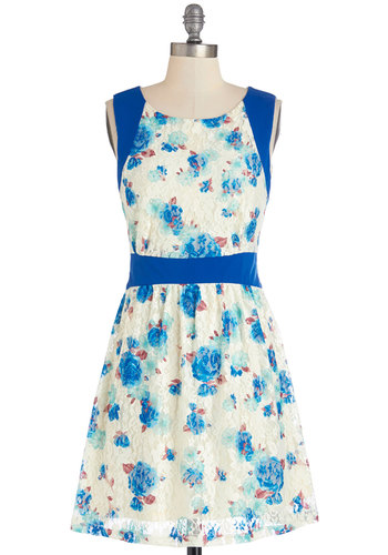In the Train Car Dress - Floral, Lace, A-line, Sleeveless, Summer, Woven, Better, Scoop, Mid-length, Multi, Blue, White, Daytime Party, Spring