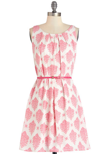 Fresh Spring Rain Dress in Pink - Pink, White, Print, Pleats, Belted, Party, A-line, Sleeveless, Summer, Woven, Good, Scoop, Mid-length, Variation, Daytime Party