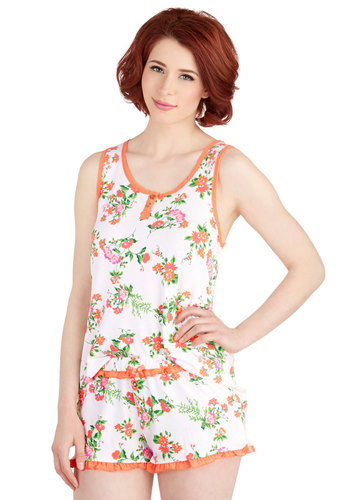 B&B Yourself Pajamas in Orange Bloom - Knit, Multi, Orange, White, Floral, Buttons, Ruffles, Trim, Tank top (2 thick straps), Spring, Variation, Scoop, Top Rated