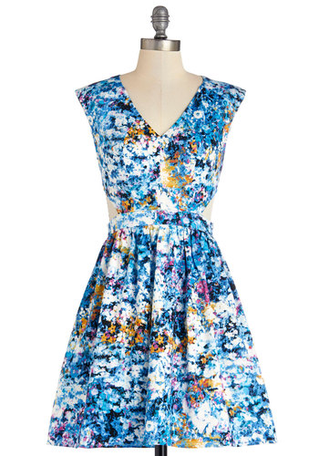Destination Darling Dress in Bluebell - Mid-length, Cotton, Woven, Blue, Multi, Floral, Cutout, Fit & Flare, Sleeveless, Good, V Neck, Casual