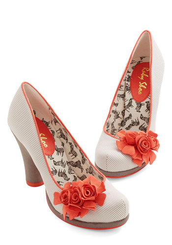 Festoon As Possible Heel - Mid, Woven, Grey, Stripes, Flower, Party, Daytime Party, Darling, Better, Chunky heel, Coral