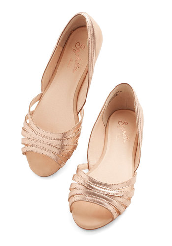 Plan Ahead Flat in Rose Gold by Seychelles - Flat, Leather, Gold, Solid, Cutout, Special Occasion, Work, Graduation, Spring, Summer, Peep Toe, Daytime Party, Variation