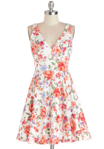 Good Things Arose Dress - Multi, Floral, Casual, Graduation, Sundress, A-line, Sleeveless, Summer, Woven, Good, V Neck, Mid-length, Exposed zipper
