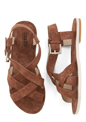 My Fairground Lady Sandal in Chocolate - Flat, Faux Leather, Brown, Solid, Buckles, Casual, Boho, Festival, Spring, Summer, Good, Strappy, Variation