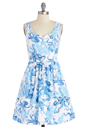 Tentacle-y Speaking Dress - Knit, Blue, White, Print with Animals, Casual, A-line, Tank top (2 thick straps), Better, Pockets, Nautical, Exclusives, Mid-length