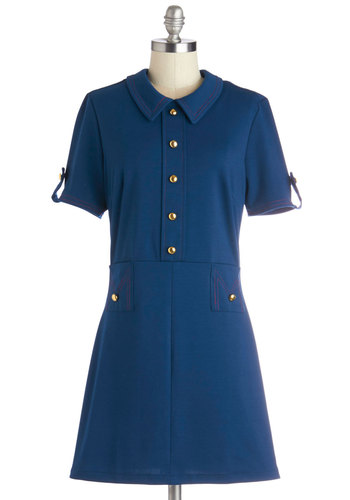 Time Immemorial Dress - Short, Knit, Blue, Solid, Buttons, Work, Casual, Shift, Short Sleeves, Collared, Pockets