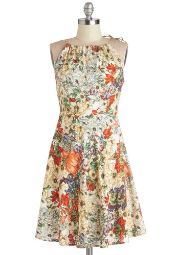 Garden Party Planner Dress - Multi, Floral, Cutout, Casual, A-line, Spaghetti Straps, Better, Knit, Mid-length