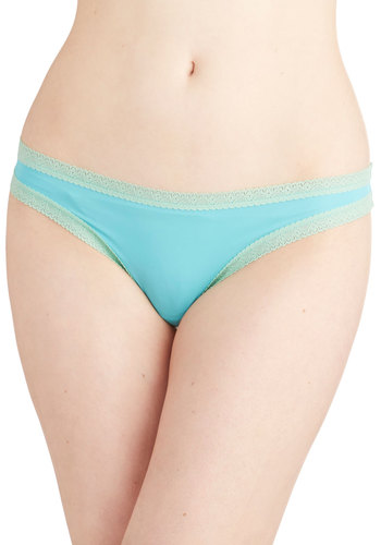 Bright and Dearly Thong in Aqua - Knit, Lace, Blue, Solid, Lace, Trim, Variation, Boudoir