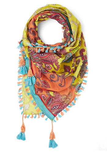 Crazy About Color Scarf in Yellow - Cotton, Woven, Yellow, Multi, Paisley, Fringed, Tassels, Casual, Boho, Festival, Spring, Summer, Yellow