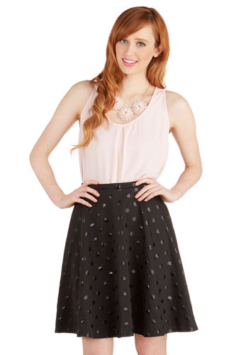 Just Wanna Whirl Skirt - A-line, Good, Black, Knit, Mid-length, Black, Polka Dots, Patch, Party, Girls Night Out, 80s, 90s, Winter, High Waist