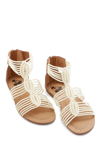 Natural Necessity Sandal in Cream - Flat, Faux Leather, Knit, Cream, Solid, Braided, Beach/Resort, Variation, Casual, Boho, Festival, Summer
