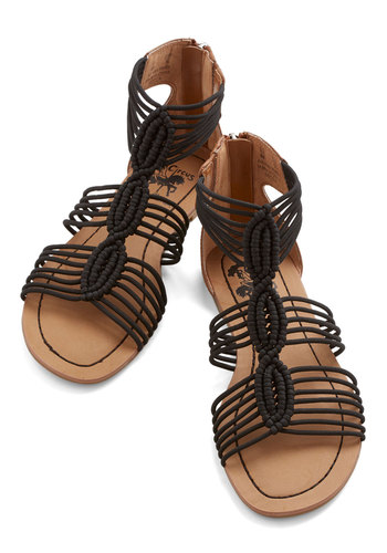 Natural Necessity Sandal in Black - Faux Leather, Knit, Flat, Black, Solid, Braided, Boho, Summer, Variation, Casual, Beach/Resort, Festival