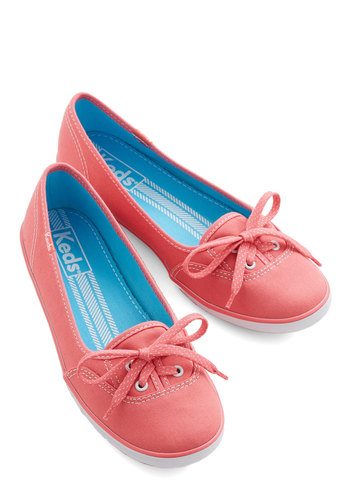 Coast of All Flat in Pink by Keds - Flat, Woven, Coral, Solid, Casual, Good, Lace Up, Variation, 90s, Summer