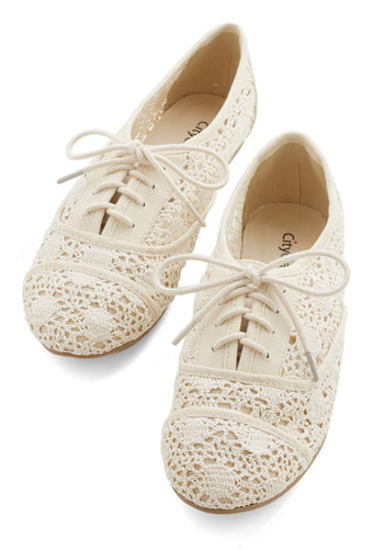 The Diminuendo Flat - Woven, Cream, Solid, Crochet, Casual, Boho, Festival, Good, Lace Up, Top Rated