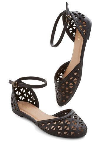 Prance in the Park Flat - Flat, Faux Leather, Black, Solid, Cutout, Casual, Spring, Summer, Ankle