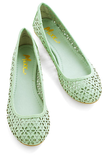 Winsome Watercolors Flat - Flat, Faux Leather, Green, Solid, Cutout, Casual, Spring, Summer, Good, Top Rated