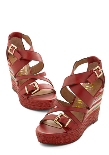 Sassy Spirit Wedge - High, Leather, Red, Solid, Buckles, Daytime Party, Spring, Summer, Best, Platform, Wedge, Espadrille, Stripes