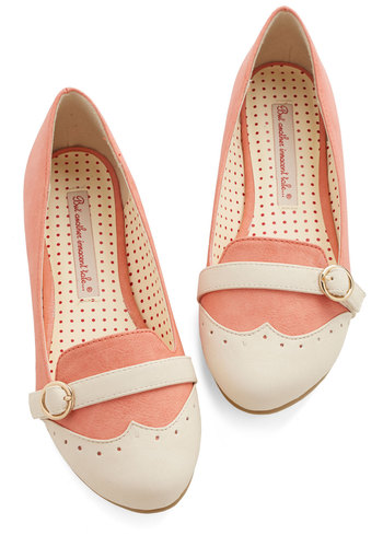 Sip of Liqueur Flat in Peach by Bait Footwear - Flat, Faux Leather, Pink, Tan / Cream, Solid, Vintage Inspired, 20s, Colorblocking, Good, Work, Variation