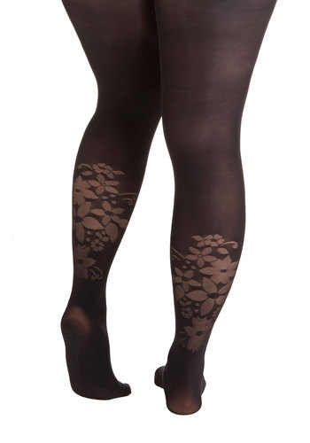 How Does Your Style Grow? Tights in Plus Size by Pretty Polly - Knit, Black, Solid, Floral, Party