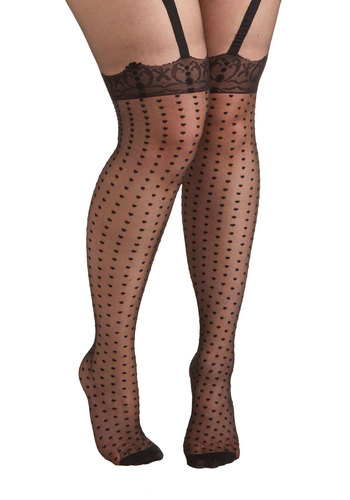 All-Out Allure Tights in Plus Size by Pretty Polly - Sheer, Knit, Black, Polka Dots, Vintage Inspired, Boudoir, Party