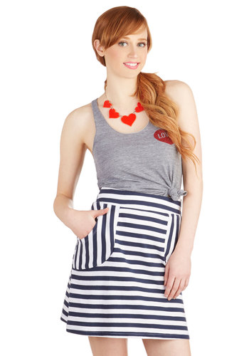 Jubilant Jupe Skirt - A-line, Knit, Short, Stripes, Pockets, Casual, Beach/Resort, Nautical, Americana, Summer, Eco-Friendly, Blue, Spring, Good, Blue