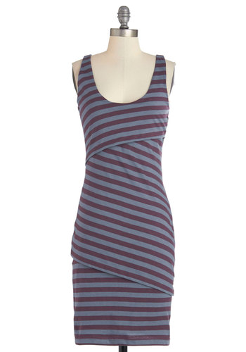 Rain Catcher Dress in Daydream - Purple, Grey, Stripes, Casual, Bodycon / Bandage, Sleeveless, Better, Scoop, Mid-length, Knit, Eco-Friendly, Variation