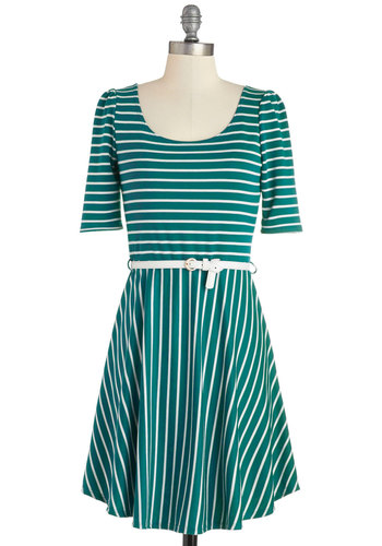 Colorful Confidence Dress in Teal - White, Stripes, Belted, Casual, A-line, 3/4 Sleeve, Good, Scoop, Knit, Green, Variation, Full-Size Run, Short