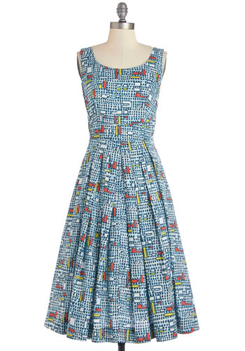 Fun and Video Games Dress in Geometric by Emily and Fin - Multi, Print, Casual, A-line, Sleeveless, Better, International Designer, Cotton, Woven, Pleats, Pockets, Scoop, Long