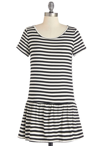 Playful Persona Dress - Black, White, Stripes, Casual, Drop Waist, Short Sleeves, Summer, Knit, Good, Scoop, Short