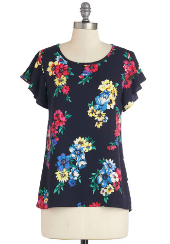 Peppy Positivity Top in Navy - Blue, Floral, Work, Short Sleeves, Blue, Short Sleeve, Woven, Mid-length, Multi, Ruffles