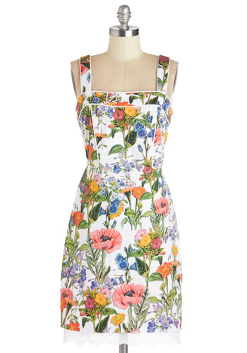 Topped with Botanicals Dress - Multi, Floral, Lace, Trim, Daytime Party, Shift, Tank top (2 thick straps), Better, Mid-length, Woven, Graduation