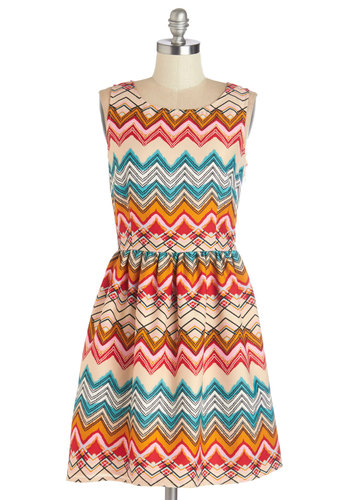 Vivid Viewpoint Dress by Sugarhill Boutique - Print, Casual, A-line, Sleeveless, Better, International Designer, Scoop, Multi, Woven, Mid-length, Cutout, Show On Featured Sale
