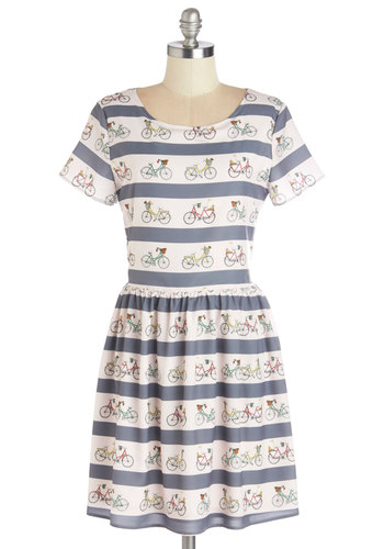 Merrily You Roll Along Dress by Sugarhill Boutique - Multi, Stripes, Novelty Print, Casual, A-line, Short Sleeves, Better, International Designer, Scoop, Mid-length, Chiffon, Woven, Tan / Cream, Grey, Summer