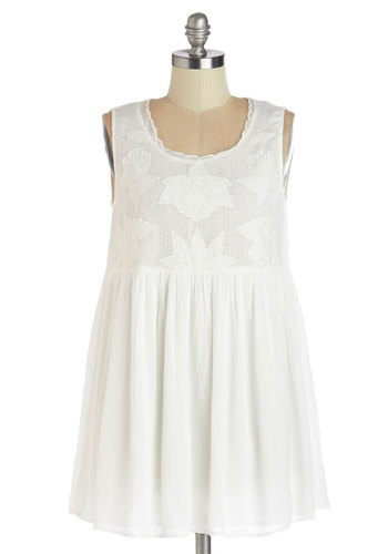 Pool Hopping Dress - White, Solid, Scallops, Casual, Beach/Resort, A-line, Sleeveless, Better, Festival, Short, Scoop, Boho