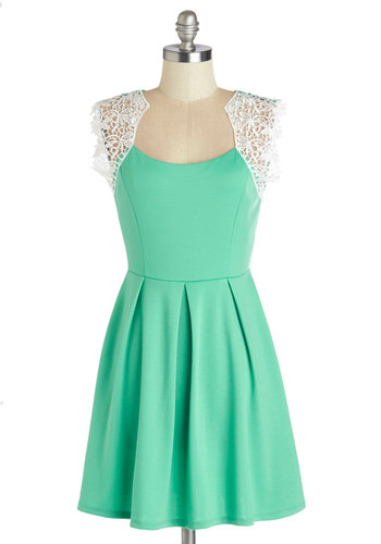 Playing to Winnow Dress - Mint, Solid, Crochet, Pleats, A-line, Cap Sleeves, Good, Knit, Short, Casual