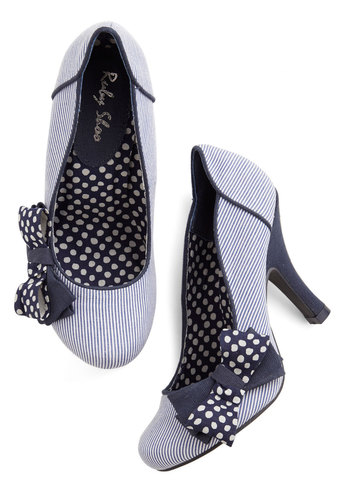 Upper Decked Out Heel - Woven, Mid, Blue, White, Polka Dots, Stripes, Bows, Party, Daytime Party, Darling, Better, Nautical