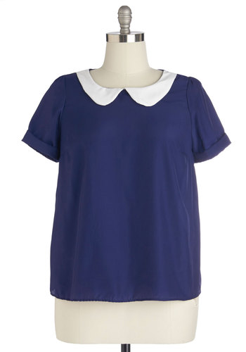 Guest Appearance Top in Navy in Plus Size - Blue, White, Casual, Nautical, Vintage Inspired, Short Sleeves, Collared, Woven, Solid, Peter Pan Collar, 60s, Variation, Top Rated