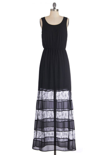 Have it Your Sway Dress - Black, Solid, Lace, Casual, Maxi, Sleeveless, Woven, Good, Scoop, Lace, Long, Summer, Top Rated