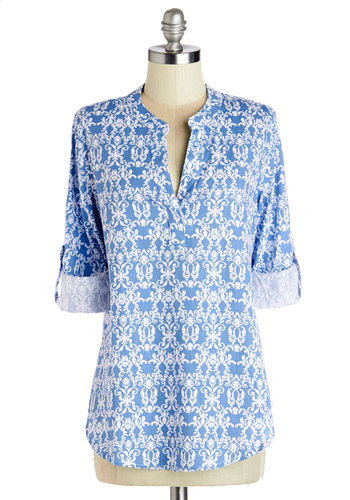 Isle of Adorable Top - Cotton, Woven, Mid-length, Blue, White, Print, Casual, 3/4 Sleeve, Spring, Blue, Tab Sleeve