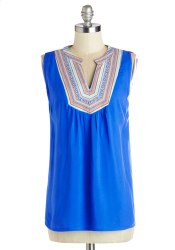 Turn Up the Beatnik Top - Mid-length, Blue, Casual, Festival, Sleeveless, Spring, Summer, Blue, Sleeveless, Multi