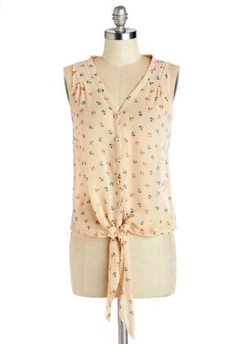 Helm is Where the Heart Is Top - Sheer, Mid-length, Tan, Novelty Print, Buttons, Nautical, Pinup, Sleeveless, Spring, Summer, V Neck, White, Sleeveless