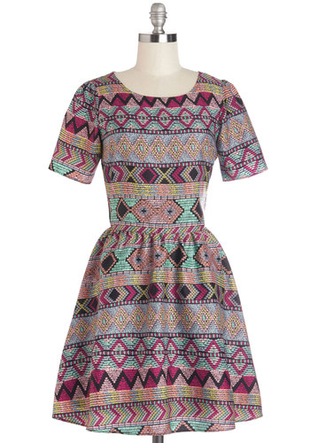 Bright and Earthy Dress by Sugarhill Boutique - Print, Casual, Folk Art, A-line, Short Sleeves, Better, International Designer, Scoop, Multi, Mid-length, Woven, Show On Featured Sale