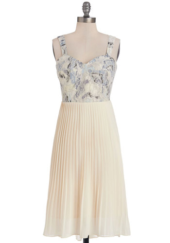 Debut on the Dock Dress by Pink Martini - Blue, Print, Pleats, A-line, Tank top (2 thick straps), Better, Sweetheart, Party, Woven, Lace, Tan / Cream, Lace, Long