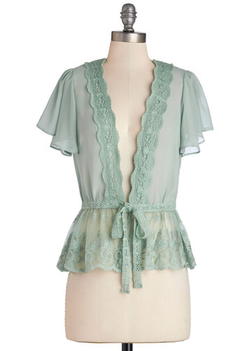 To Quiche Their Own Cardigan in Mint - Mint, Solid, Lace, Work, Short Sleeves, Green, Short Sleeve, Better, Sheer, Mid-length, Wedding, French / Victorian, Darling, Spring
