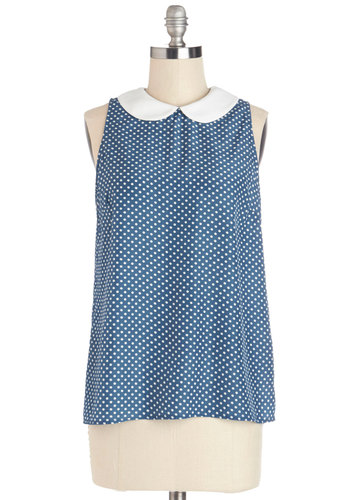 Reason to Celebrate Top - Mid-length, Blue, White, Polka Dots, Peter Pan Collar, Work, Vintage Inspired, Darling, Sleeveless, Spring, Collared, Blue, Sleeveless, 60s