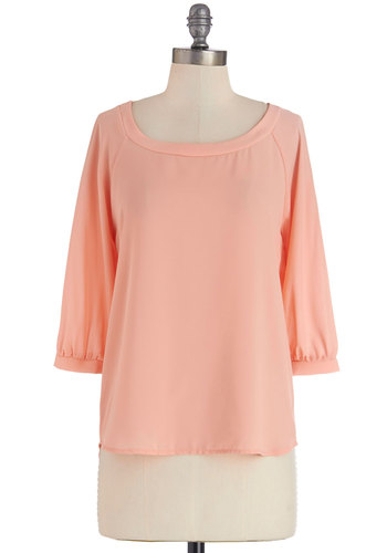 Peach Tree Picnic Top - Pink, Mid-length, Pink, Solid, Work, Pastel, 3/4 Sleeve, Spring, 3/4 Sleeve, Buttons, Scoop