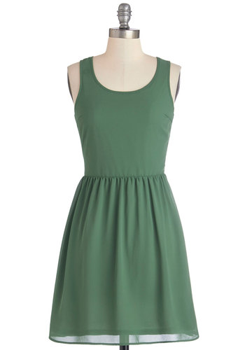 Fern of Phrase Dress - Green, Solid, Braided, Cutout, Casual, Festival, A-line, Sleeveless, Better, Scoop, Summer, Woven, Mid-length