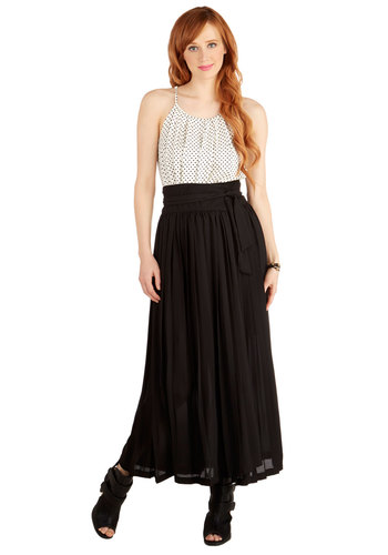 That's a Wrap Party Skirt - Maxi, Better, Black, Long, Black, Solid, Belted, Casual, Daytime Party, Boho, Festival, Summer, Beach/Resort, Spring, Fall, Winter