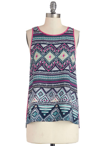 Drawing by the Dock Top - Mid-length, Multi, Blue, Pink, Print, Casual, Festival, Sleeveless, Summer, Multi, Sleeveless, Exposed zipper, Trim, Good