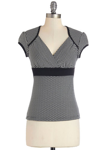 Sweet Greetings Top - Mid-length, Black, White, Polka Dots, Work, Girls Night Out, Pinup, Vintage Inspired, Black/White, Short Sleeve, Exclusives, Cap Sleeves, V Neck